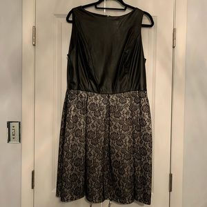 Faux leather bonded lace dress